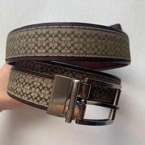 COACH Leather Classic Monogram Brown Belt